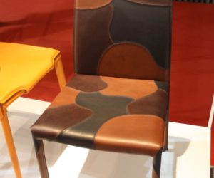 "Leather dining chairs are also very popular. This multicolored leather style, called ""Patchwork"" is from Airnova."