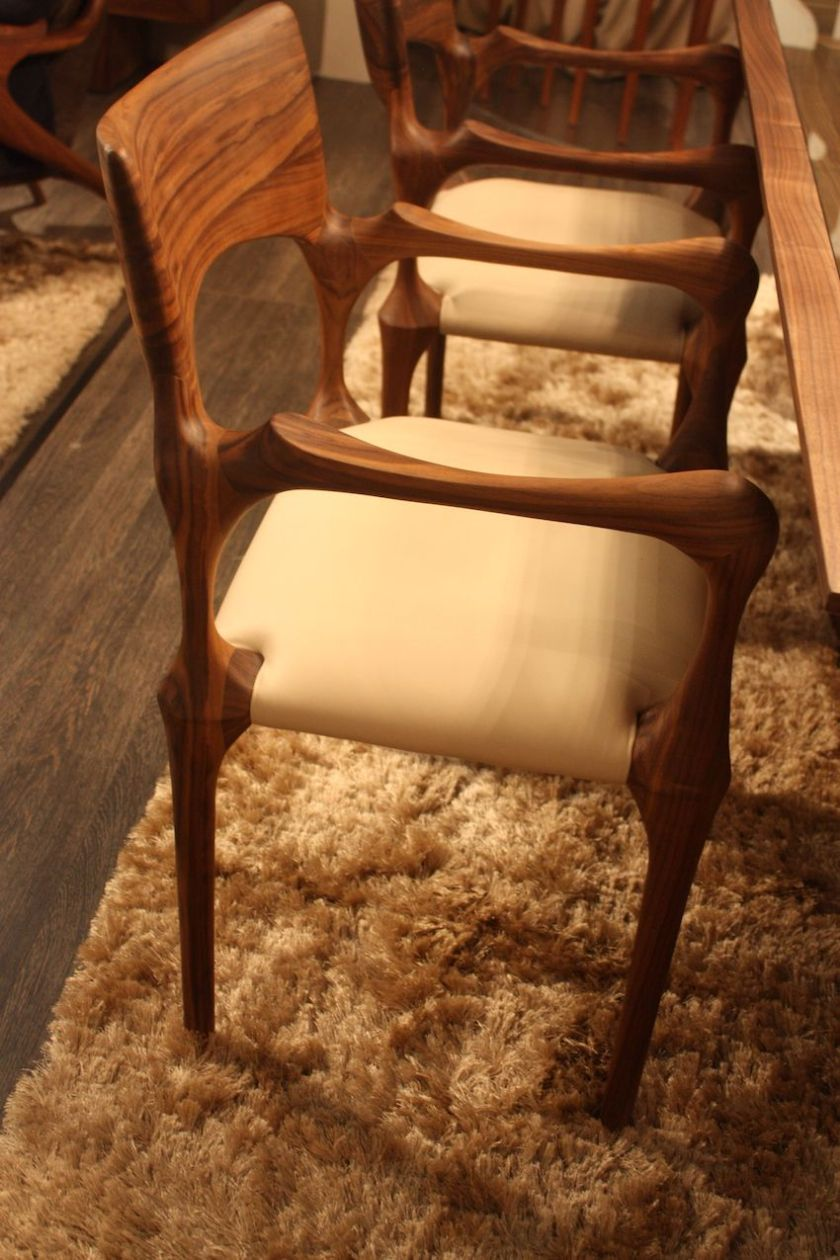 """The Camus Collection, a company based in Valencia, Spain, has a wide range of gorgeous wood designs including this """"Sara Bond"""" chair. It is available with an upholstered or a more casual woven seat."""