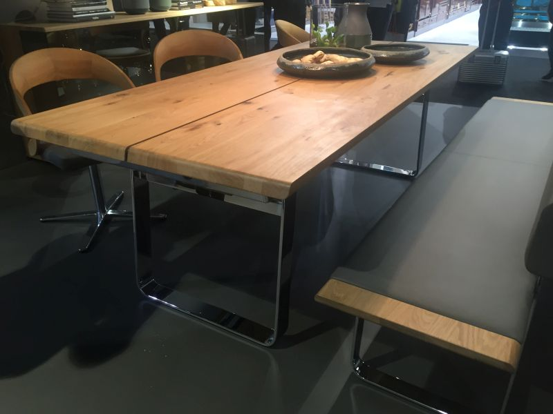 Chrome base for dining table and bench