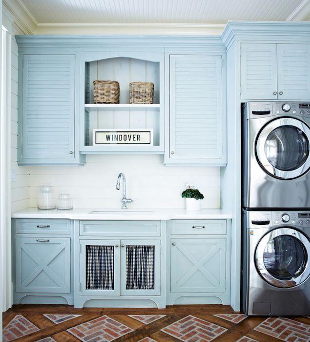 Cottage turquoise laundry room