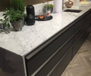 Grey and a small marble backsplash