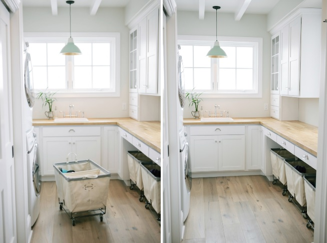Laundry room with baskets on wheels