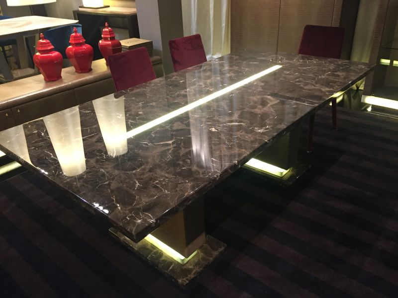 Lenzi black marble dining table with led light