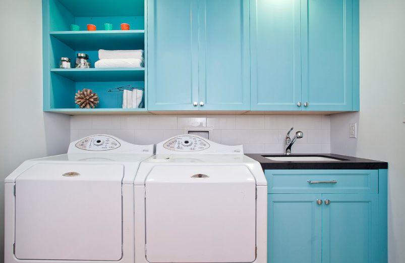 Turquoise washing machine