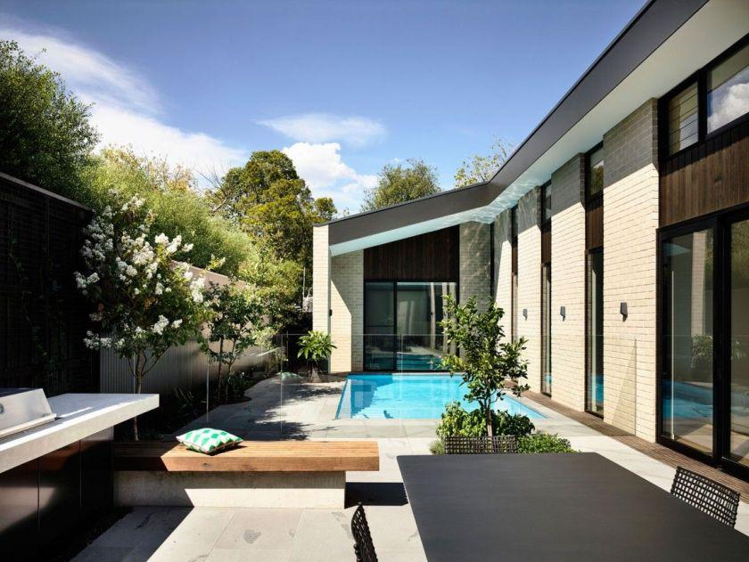 Custom designed house with a small backyard