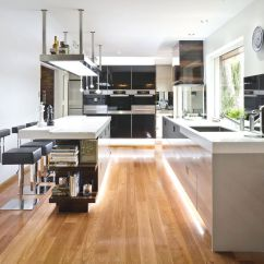 Kitchen Floor Cabinet Double Sinks For Sale 20 Gorgeous Examples Of Wood Laminate Flooring Your Soft Hidden Light Contemporary Design