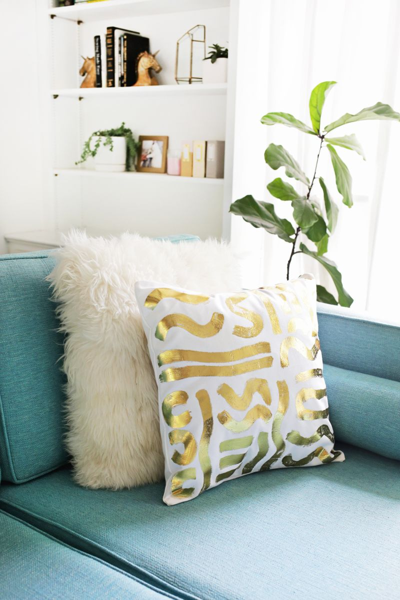 Gold foil pillow pattern