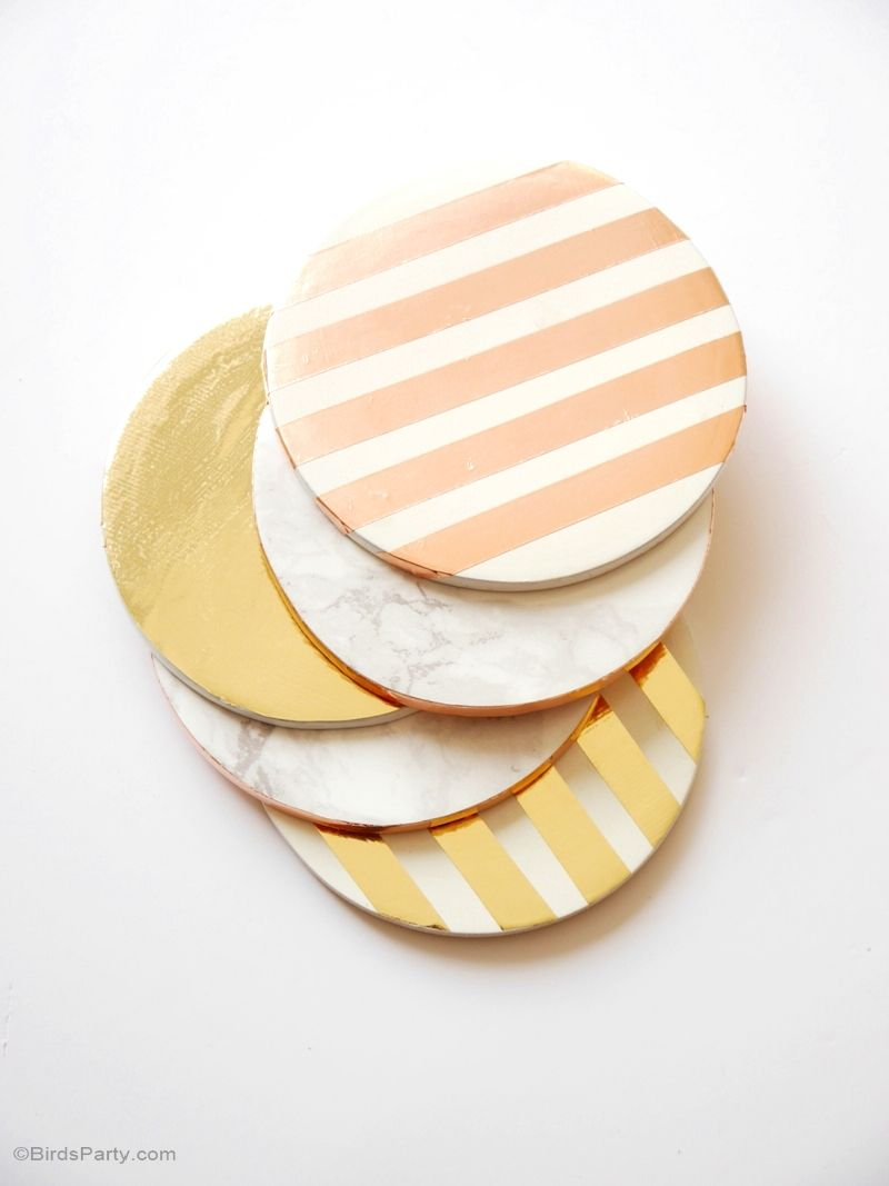 Marble and dip gold foil coasters