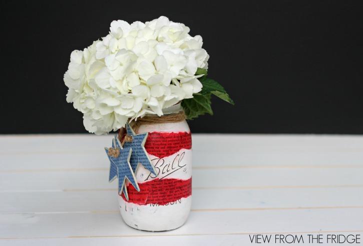 Mason jar pages patriotic vase