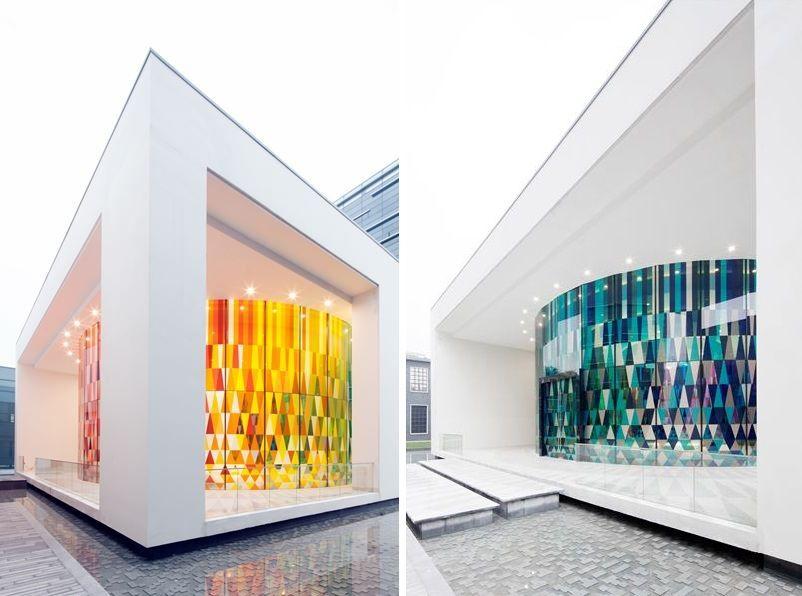 Rainbow chapel with a cool modern facade