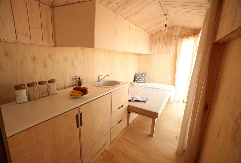 Tiny vacation home on wheels kitchen