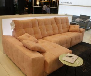 Acomodel Yellow shade tufted l spahed sofa