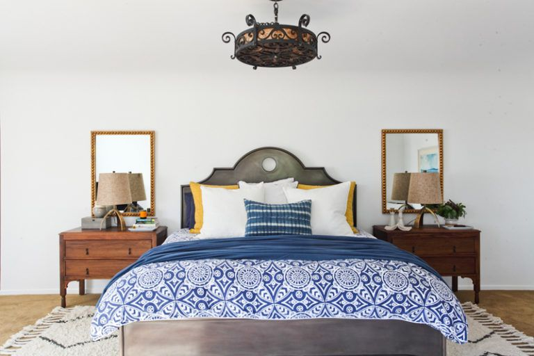 Bedroom with a cool bedding pattern