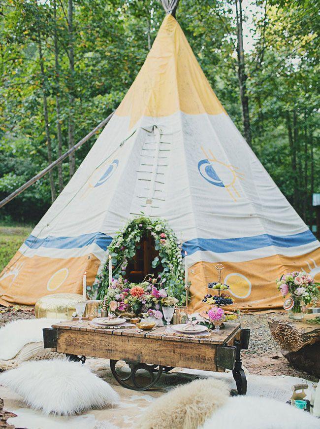Bohemian glam tipi tent for wedding