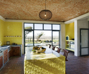 Ceiling beams and green yellow kitchen color