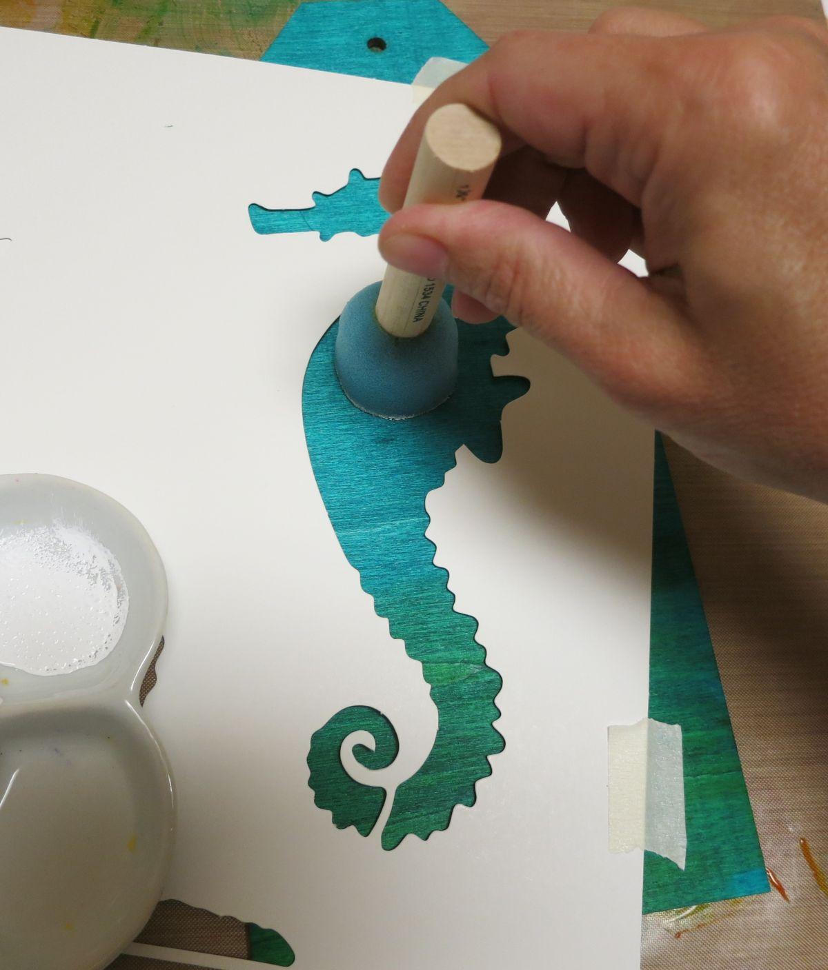 Coastal Themed Wood Tag turquoise color