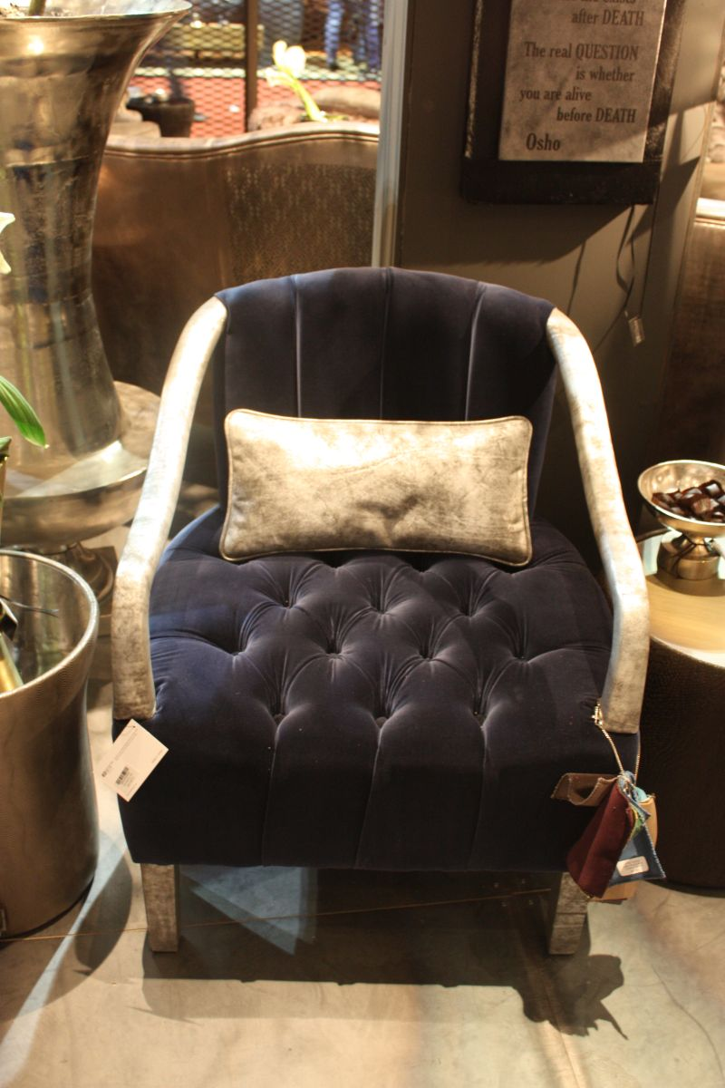 Deep blue tufted seat for armchair
