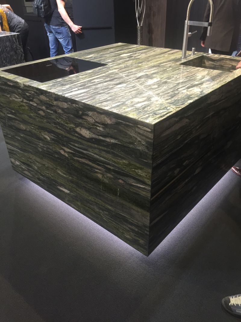 Earth tones kitchen island from mabrle with floor High-Efficiency LED Lighting