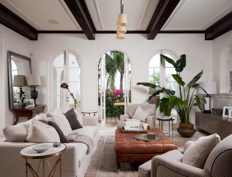 Exposed wooden beams in a spanish living room