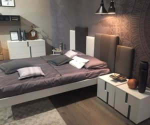 Floating bed and irregular headboard design