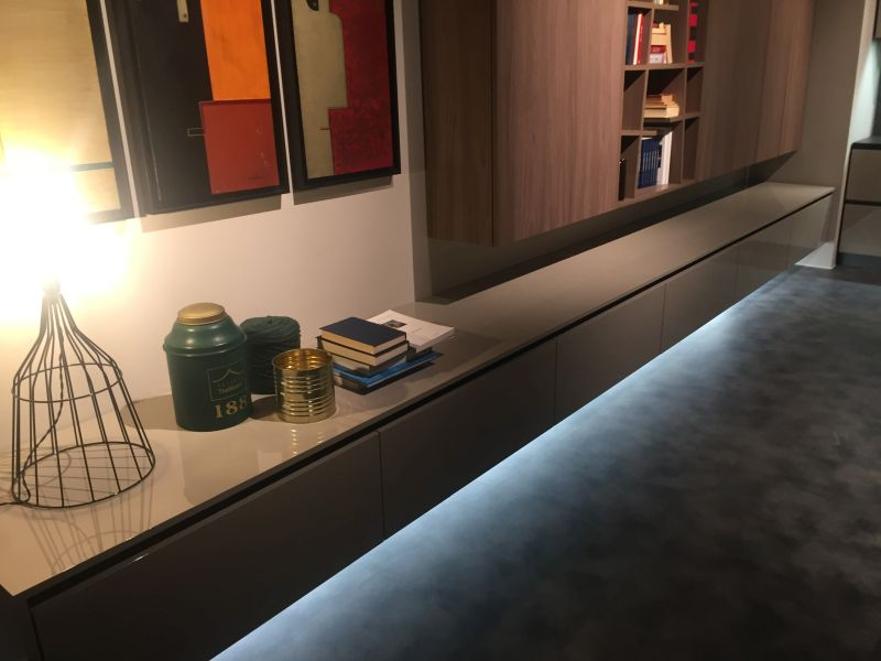 Floating living room furniture with LED strip light