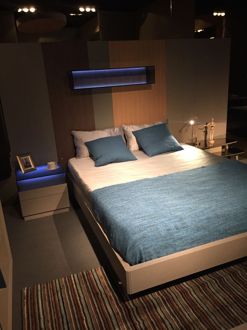 Framed bed and nightstand with LED lights