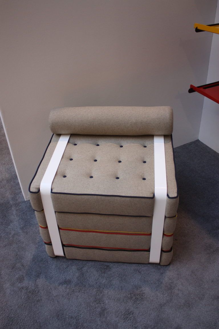 Geometric Leather covered poufs