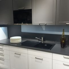 Black Sink Kitchen One Piece Drama And Elegance Reflected In A Countertop Gray Design
