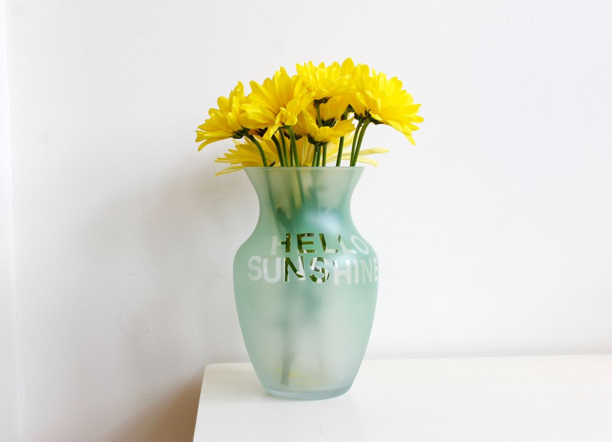 Hello sunshine Colorful Etched Vases
