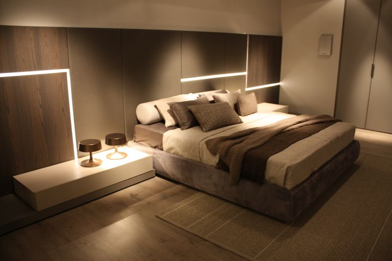 Large bedroom headboard with LED light