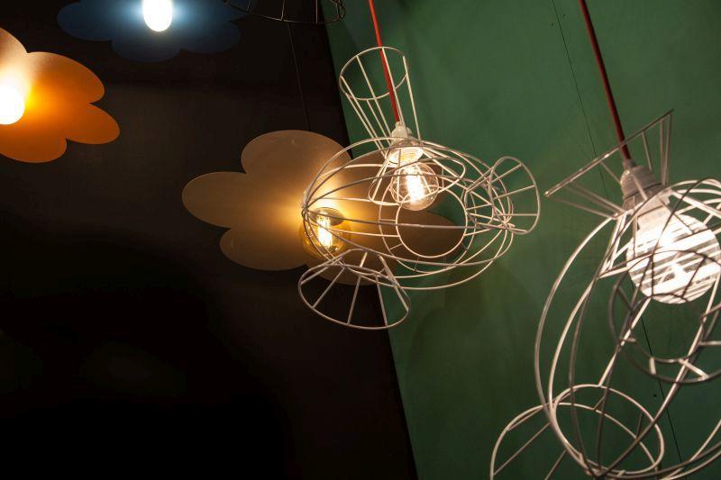 Les Dzoings Lighting fixture with edison light bulb