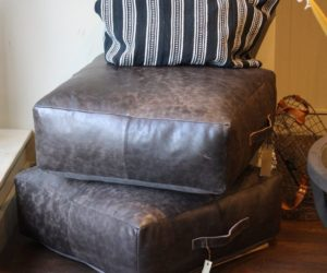 Masculine leather pouf