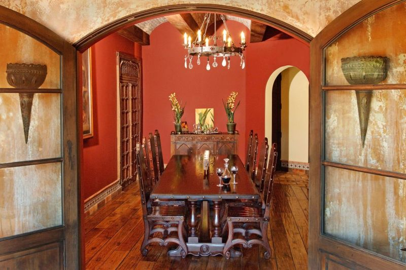 Old wood furniture for dining area