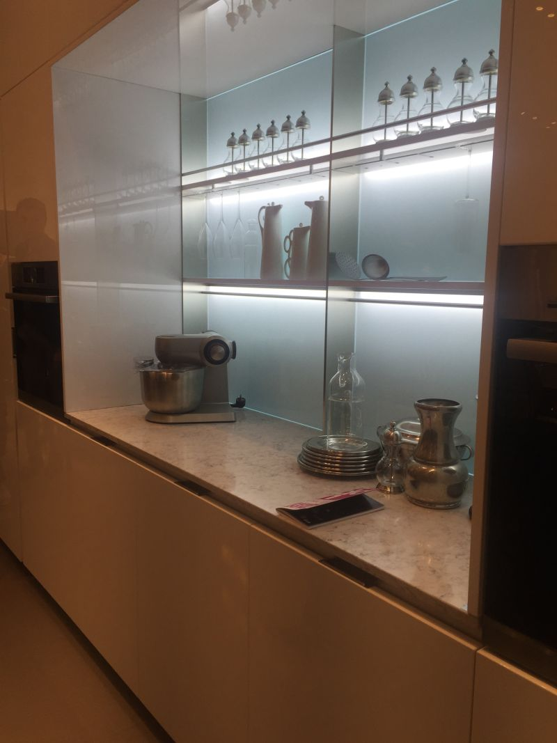 Open space kitchen storage system with LED strip lights
