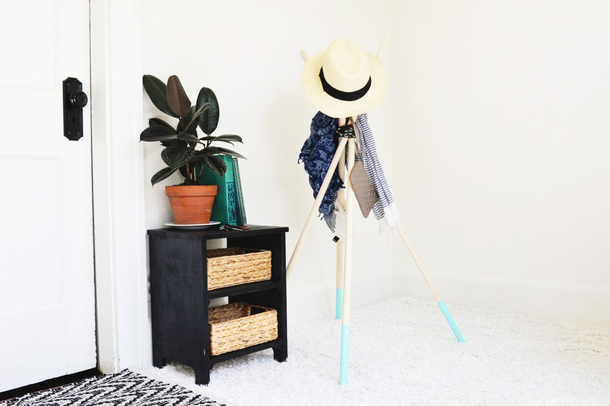 Paint dipped coat rack