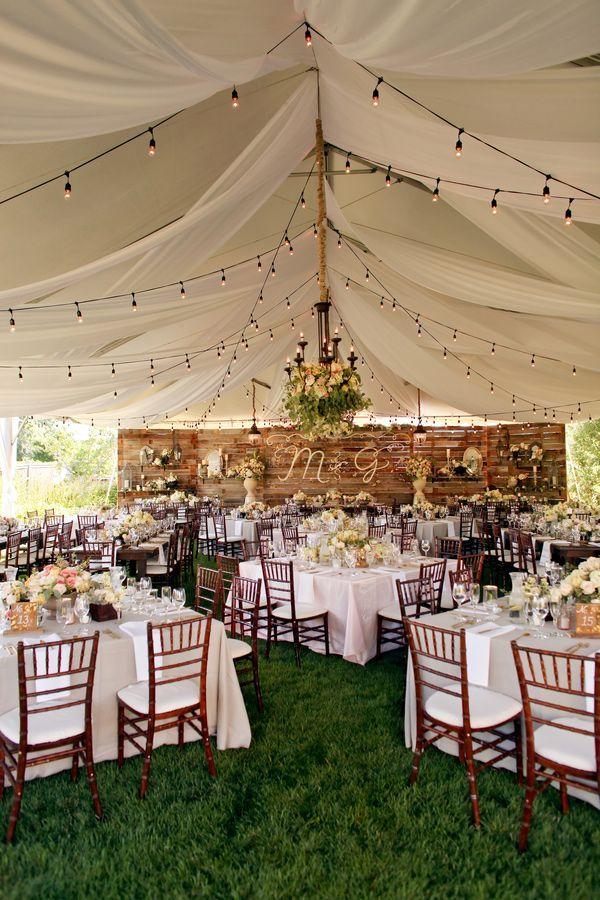 Rustic backyard wedding tent
