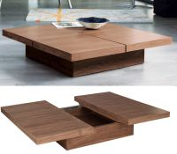 Square Wood Coffee Table Storage Home Decorating Trend ...