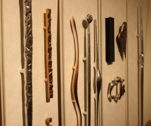 Here's a view of Watts' collections of large handles with some matching pulls. On the left is the Crushed collection, and the next panel features the Big Shim, Trafalgar and Driftwood handles.