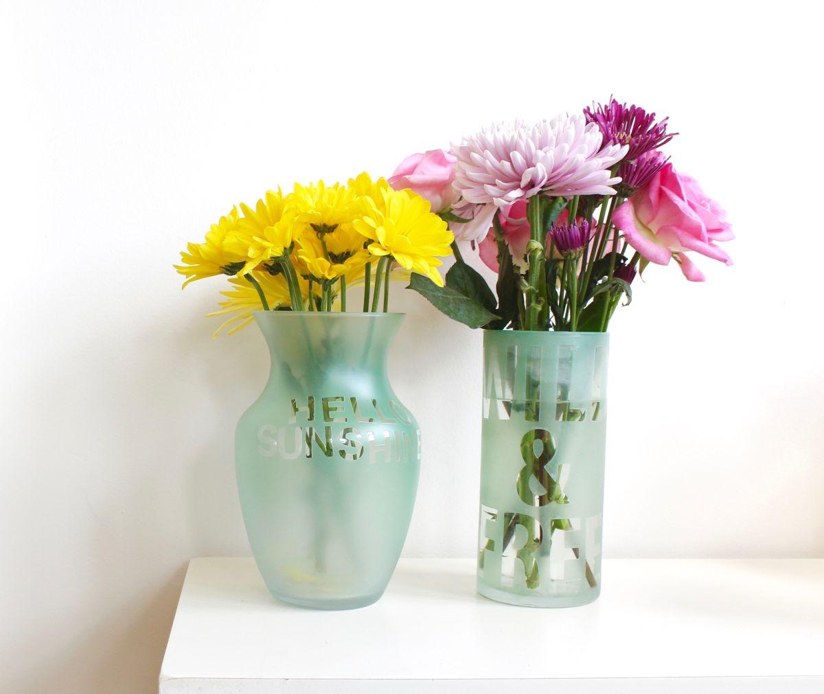 modern Colorful Etched Vases