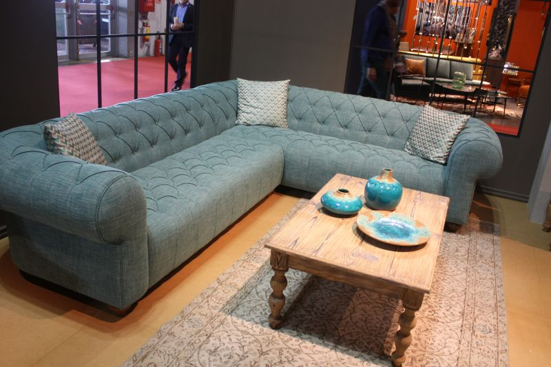 Aquamarine l shaped sofa