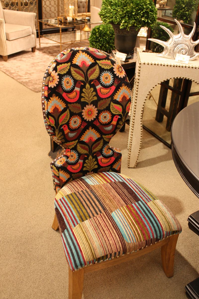 Bohemian chair with mixed patterns