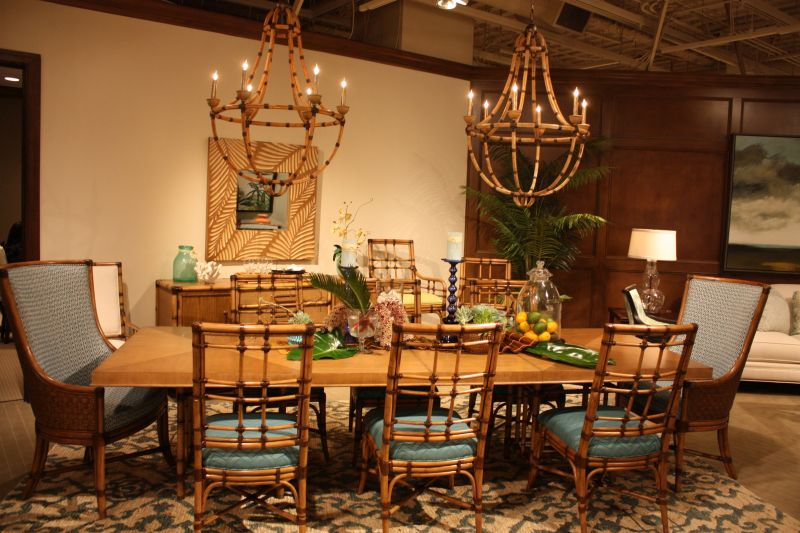 Dining table with bamboo chairs