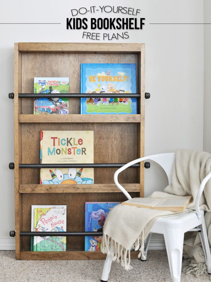 Industrial kids bookshelf with pipe