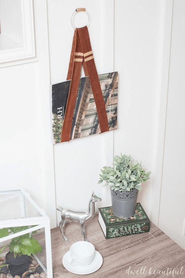 Leather wall hanging magazine holder
