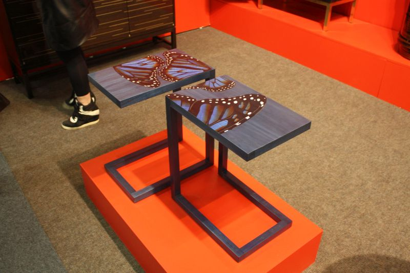 Modern blue tray table with buterfly design