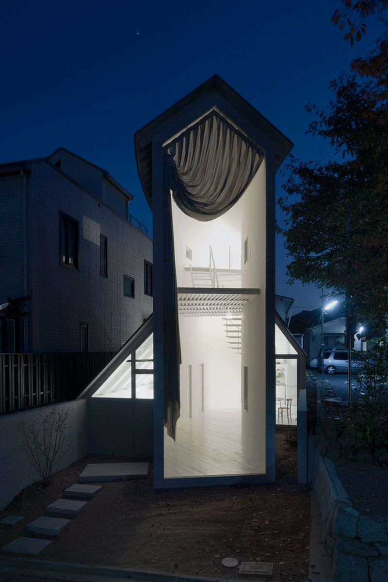 O House extension tower at night