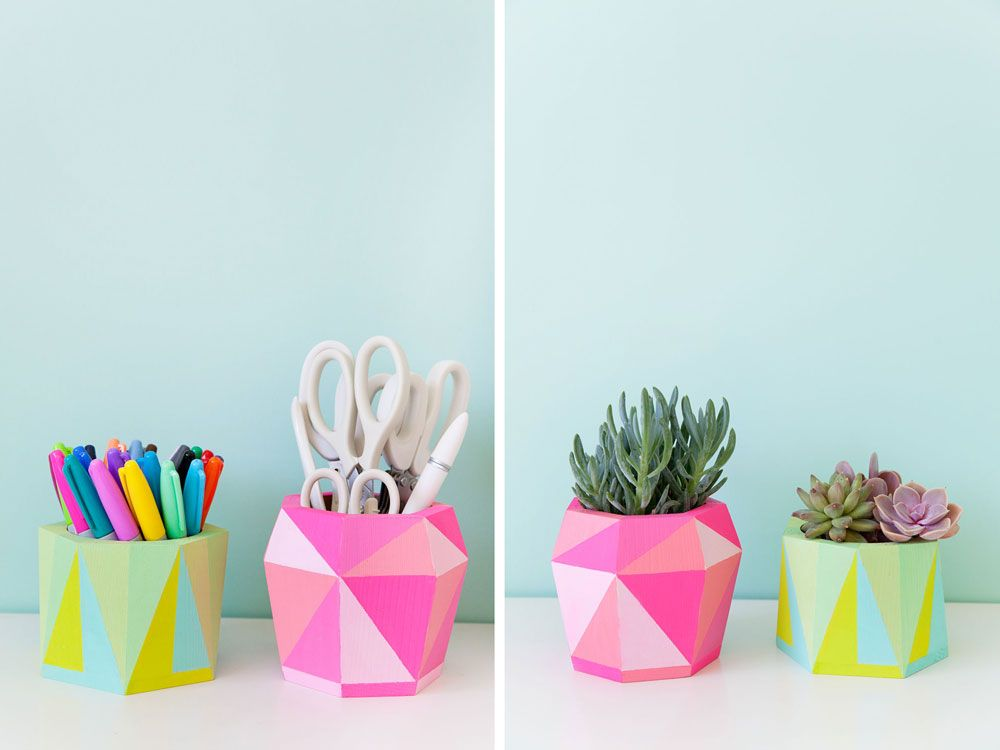Painted wood container - pencil holder