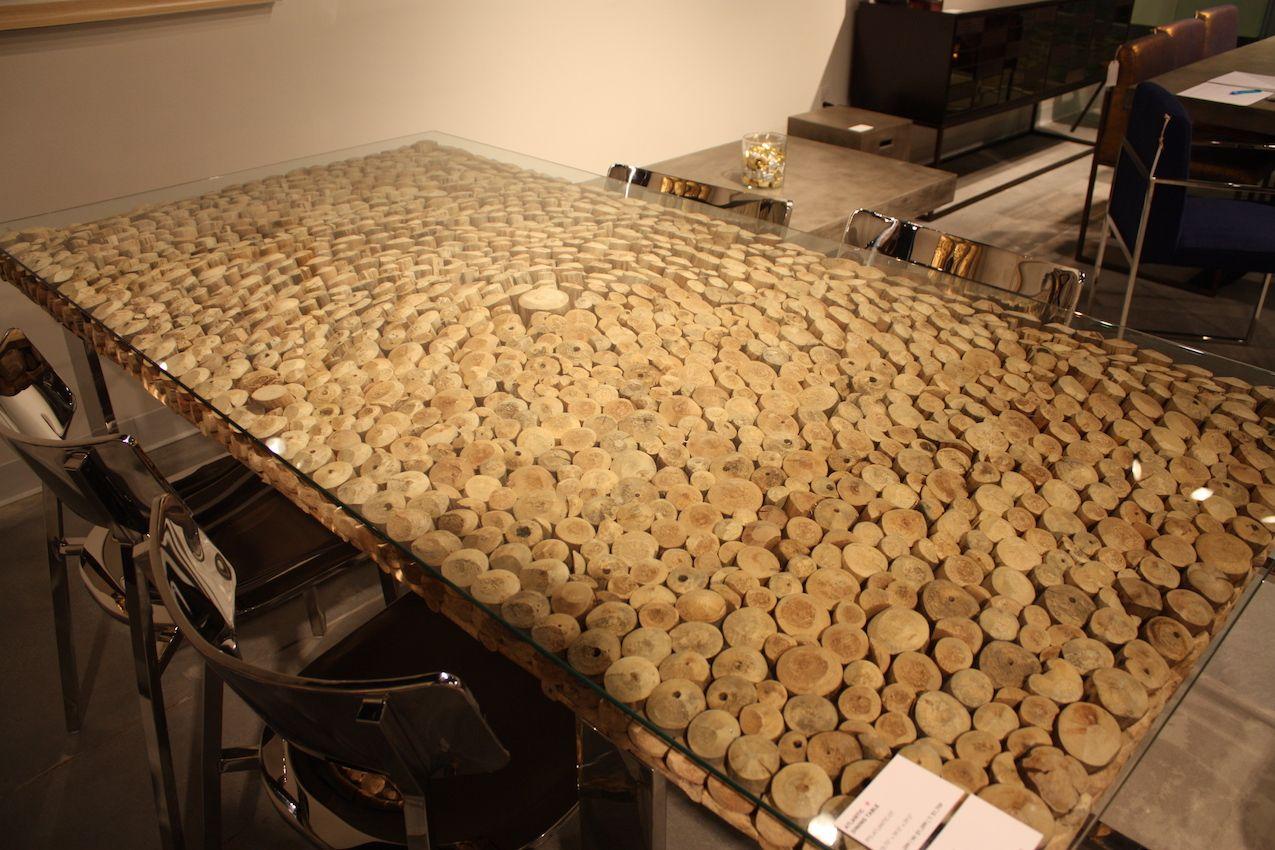 Urbia glass top wood table
