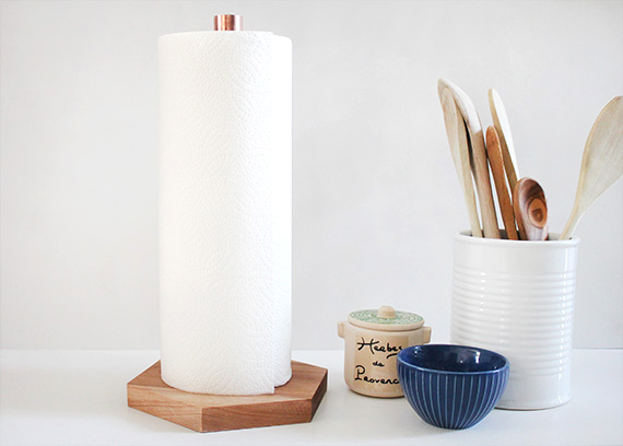 Wood and copper counte paper towel storage