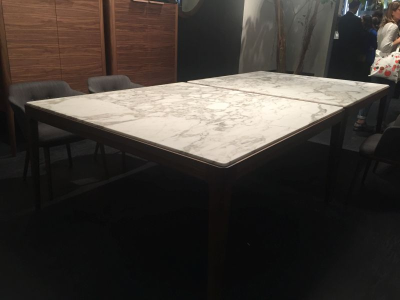 Wood dining table base with marble on top